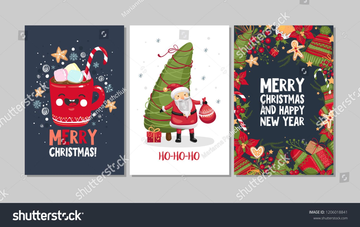 Collection Of Cute Merry Christmas And Happy New Year Greeting Cards Set Of Hand Drawn H Merry Christmas Poster New Year Greeting Cards Christmas Illustration