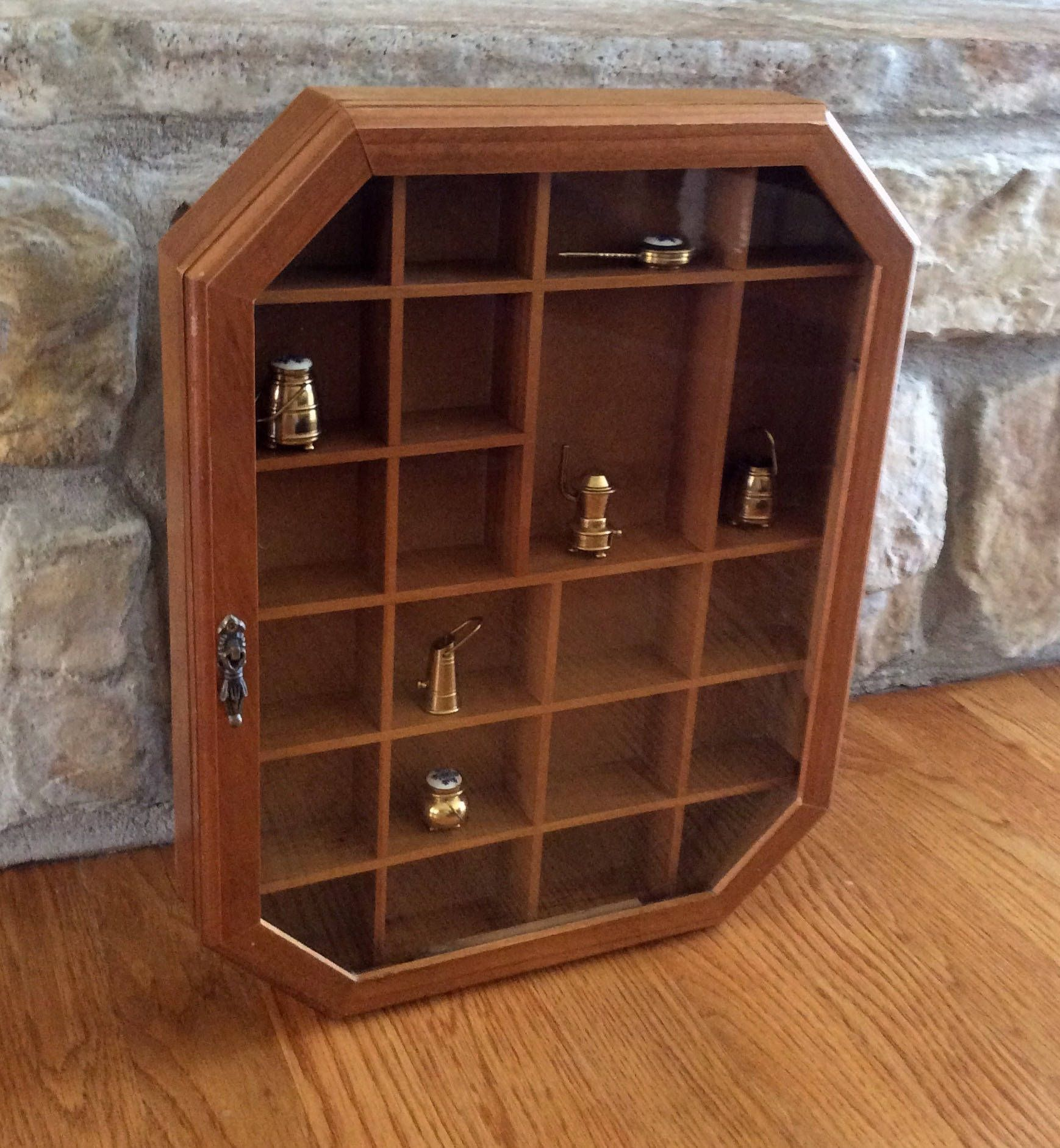 Vintage Octagon, Wood U0026 Glass Shadow Box, Wall Curio Cabinet, Miniature  Storage,