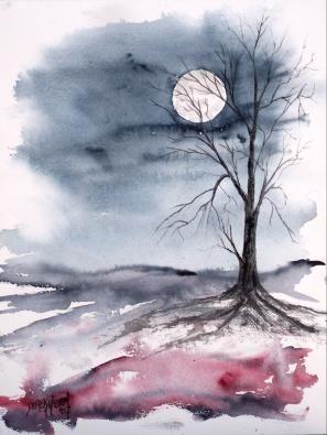 Moon Light Gothic Dark Surreal Modern Landscape Watercolor Painting Watercolor Landscape Paintings Watercolor Paintings Easy Art