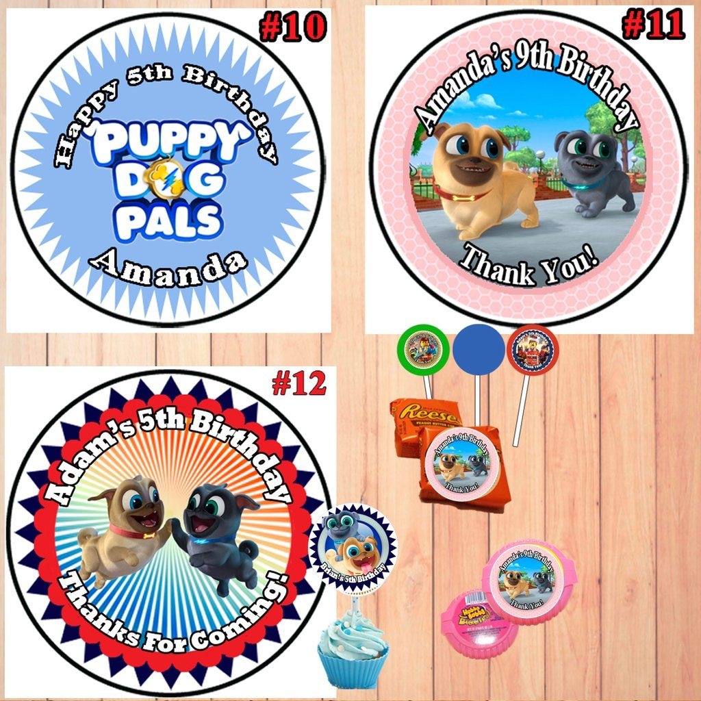Puppy dog pals birthday round stickers printed 1 sheet cup cake toppers favor stickers personalized custom made