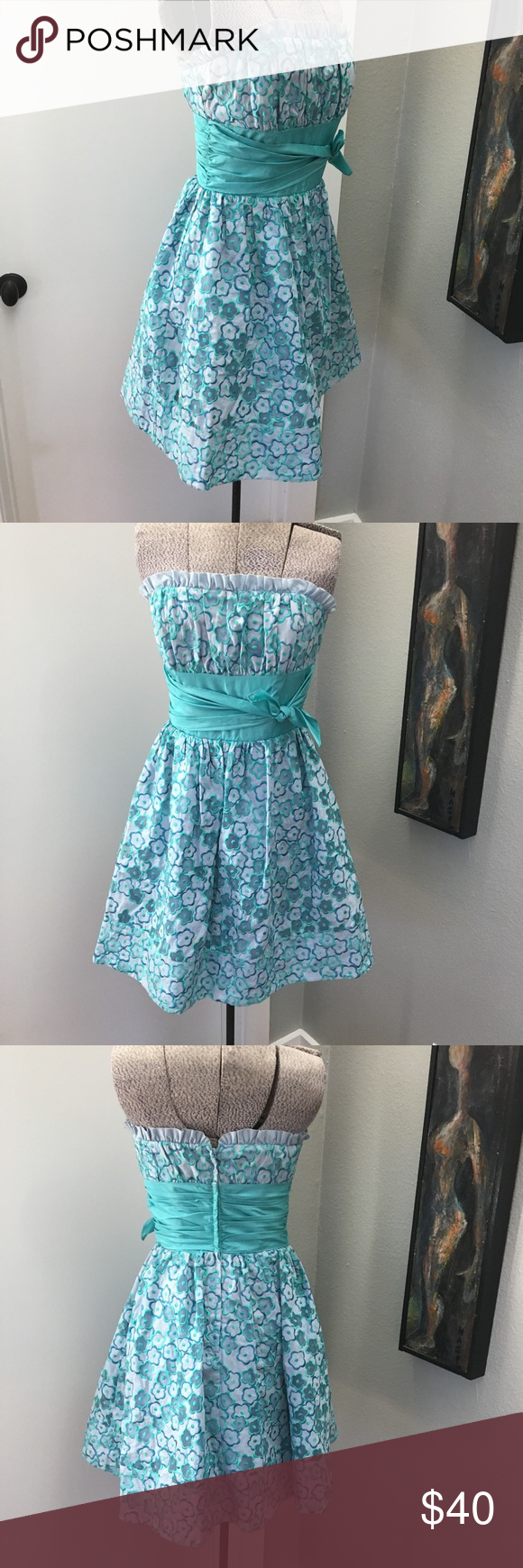 BETSEY JOHNSON Strapless Floral Party Dress 4 So cute with built in ...