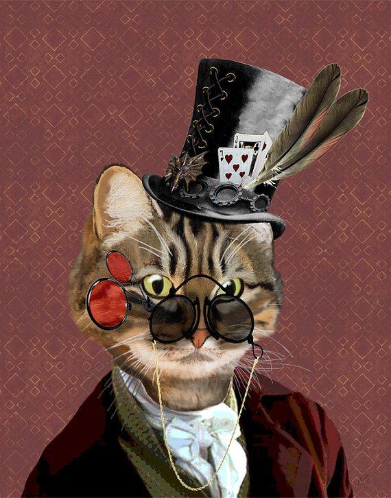 Phileas Feline Steampunk Cat Top Hat, cat art cat print cat ...