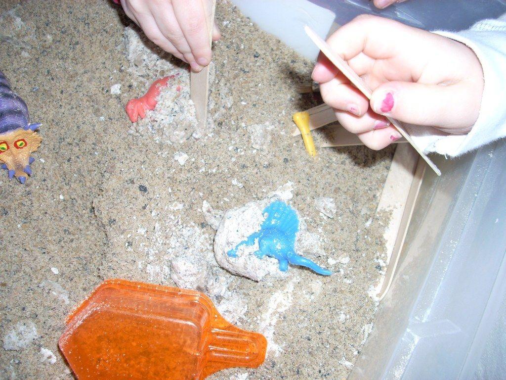 Preschool Paleontologists Digging For Dinosaur Bones