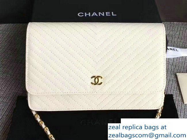 f5ef85312717 Chanel Caviar Leather Chevron Wallet On Chain WOC Bag White 2017 ...