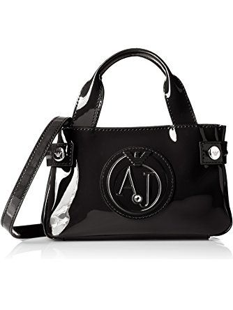 Armani Jeans Eco Patent Leather Crossbody Mini Bag, Black ...