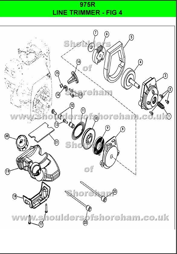 975r   Ryobi Trimmer brushcutter   Spare parts, Diagram