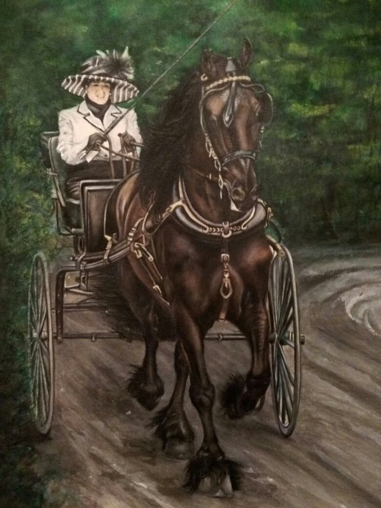 Horse and buggy watercolor Horse and buggy, Horses, As