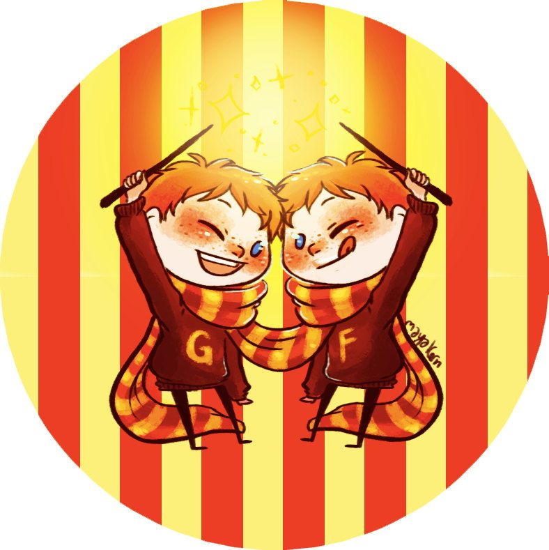 HARRY POTTER BUTTON  Weasley Twins Fred and by isthatwhatyoumint, $3.00