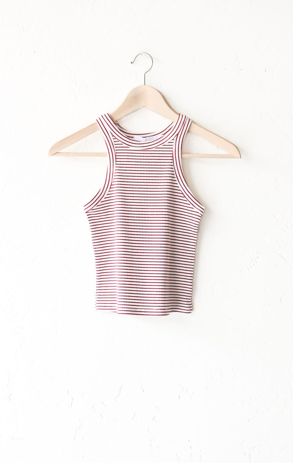 946a5ad27477dc Description - Size Guide Details  Ribbed crop top with all over horizontal  striped in white burgundy and racerback cut. Form-fitting