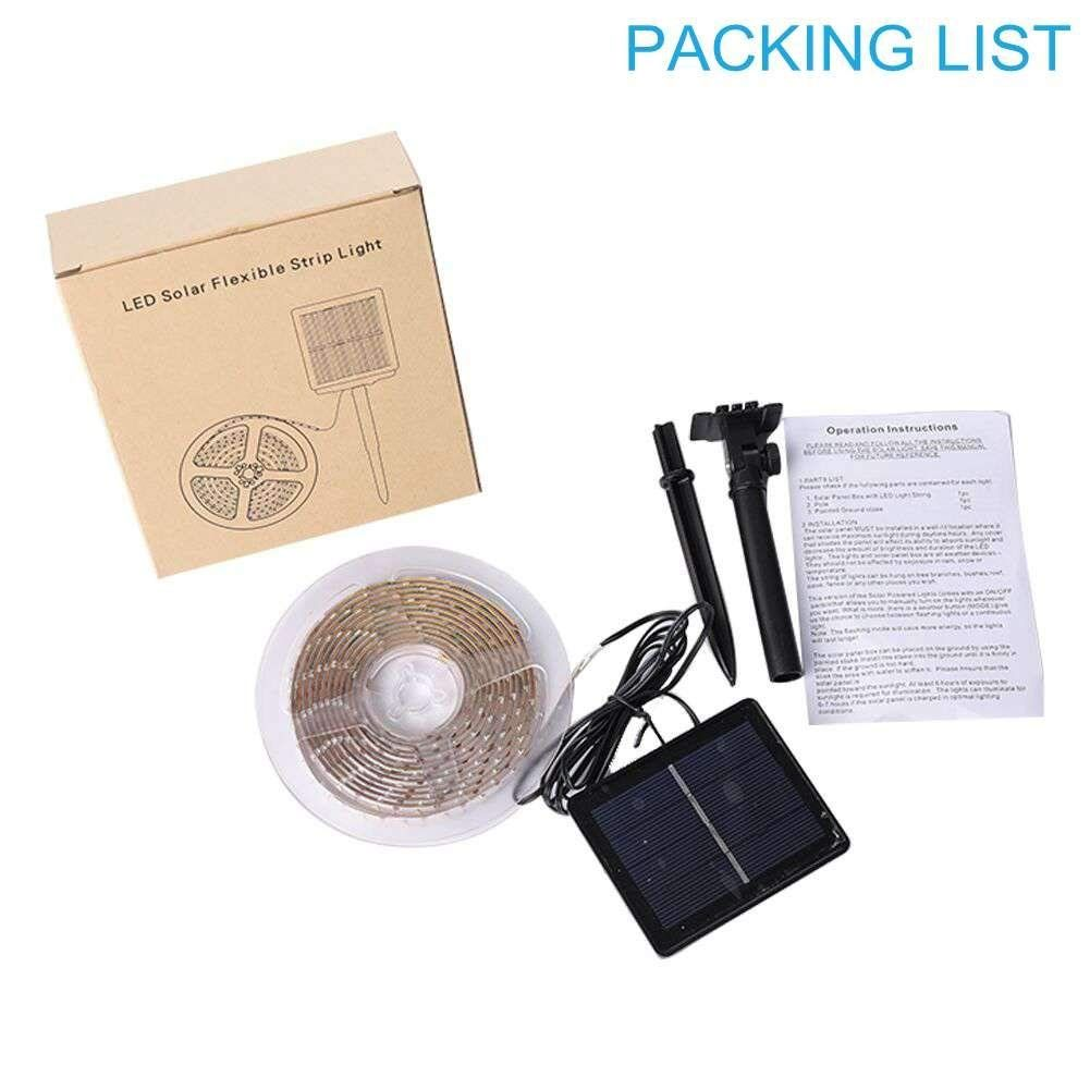 Loguide Outdoor Solar Strip Lights Cuttable Light Strips Led Ed 10 Ft 3m Smd2835 180 Flexible Waterproof
