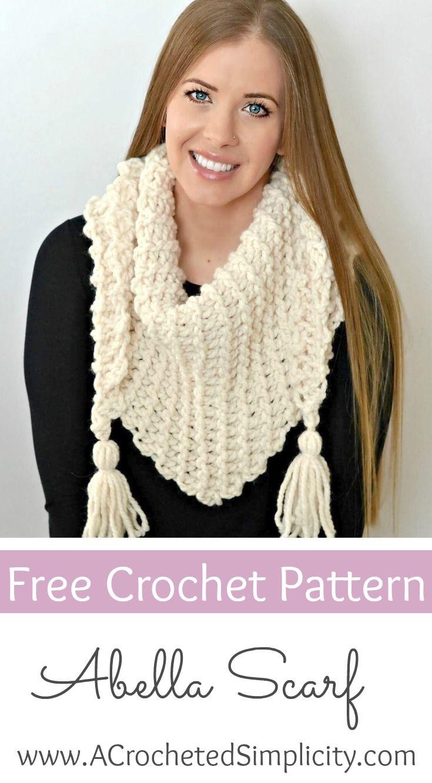 Free Crochet Pattern - Abella Triangular Scarf | Chal, Tejido y ...