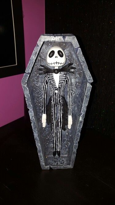 Ceramic Jack Skellington in coffin. My latest addition