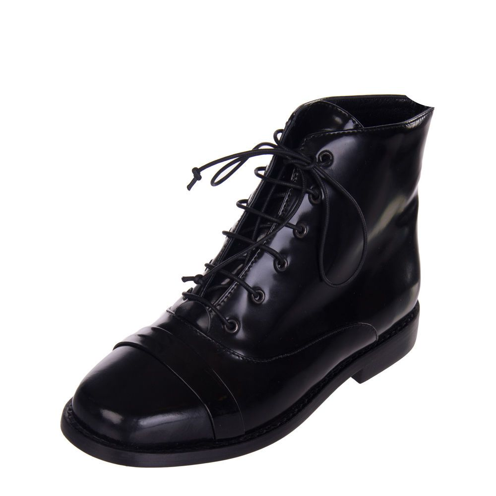d4b44570adb7 8 Leather Ankle Boots EU 36 UK 3 Black Polished Panel Lace Up Made in Italy   fashion  clothing  shoes  accessories  womensshoes  boots (ebay link)