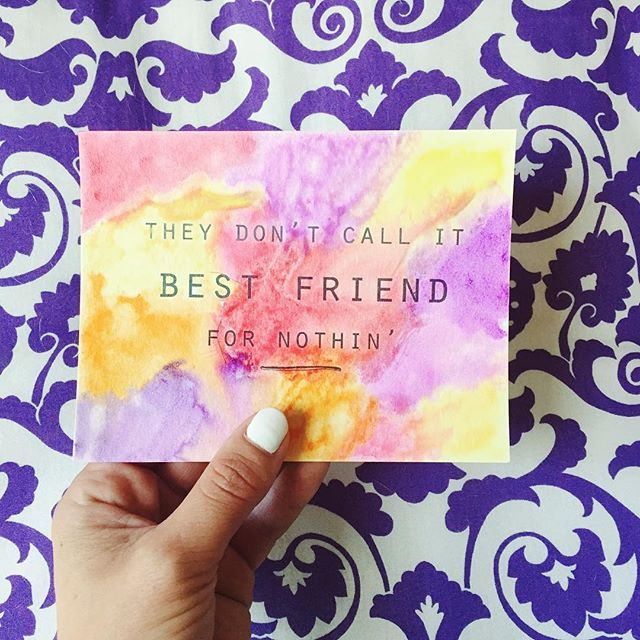 Best friends are so needed, don't ya think?  They know how to cheer you up when you're bummed out, they're there to celebrate with you when something amazing happens and are quick to pray with you when you're going through a hard time. It takes a lot of work and time to be a good friend and it's something to be acknowledged.