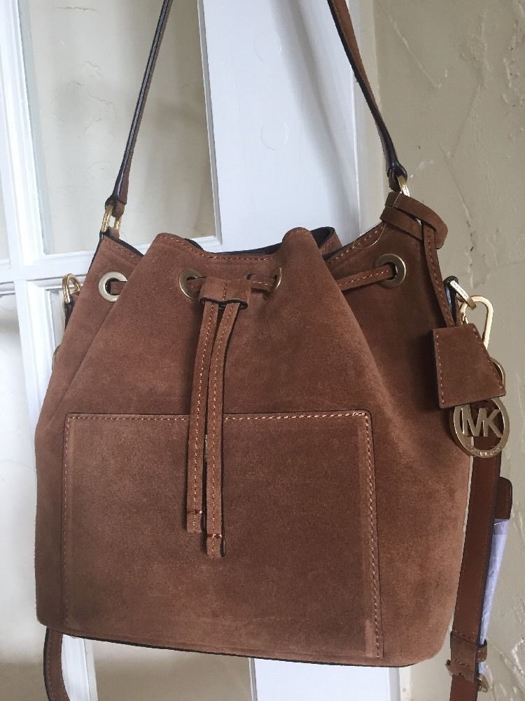b0e6eeae19 MICHAEL Michael Kors Greenwich Medium Bucket Bag Dark Caramel Suede Leather…