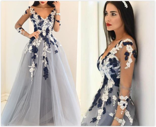 Blue Sheer Sleeves Appliques A-line Tulle Prom Dresses 2017   PROM ...