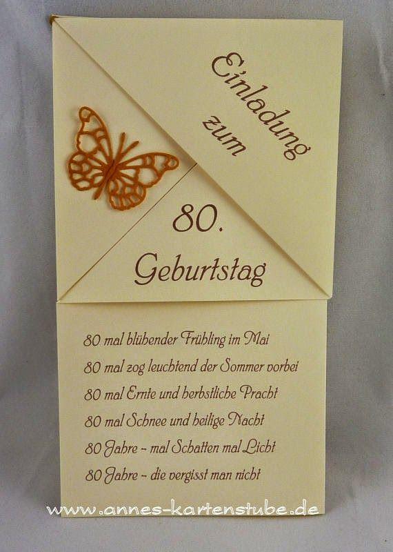 superior einladung 80 geburtstag spruche #5: Diese gefalteten Einladungen sollten es sein. Ein schön es Wochenende  wünsche ich allen und vielen · Einladung Zum 80 GeburtstagGlückwunschkarten  ...