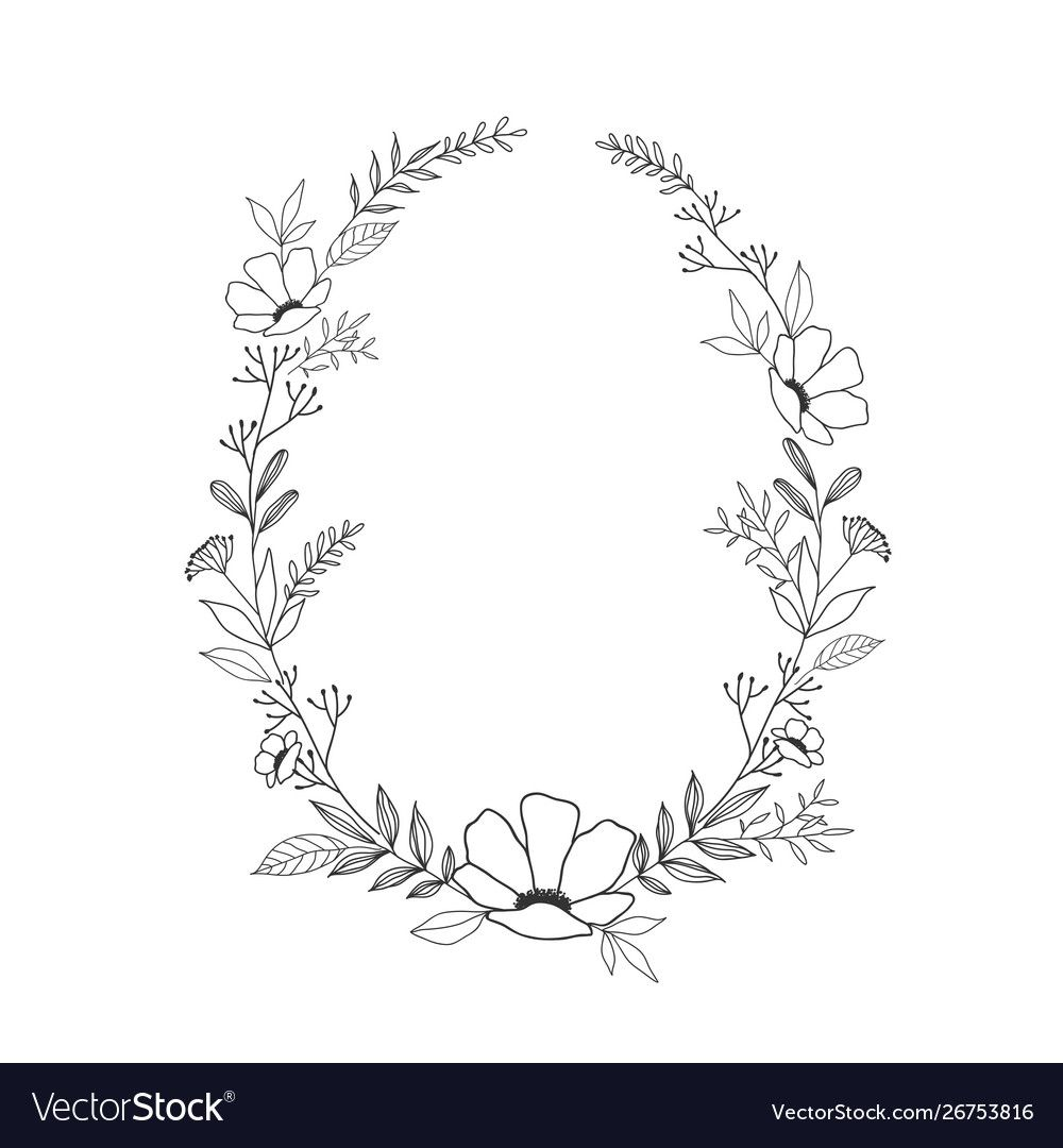 Hand Drawn Floral Oval Frame Wreath On White Vector Image Aff Floral Oval Hand Drawn Floral Wreaths Illustration How To Draw Hands Mirror Drawings
