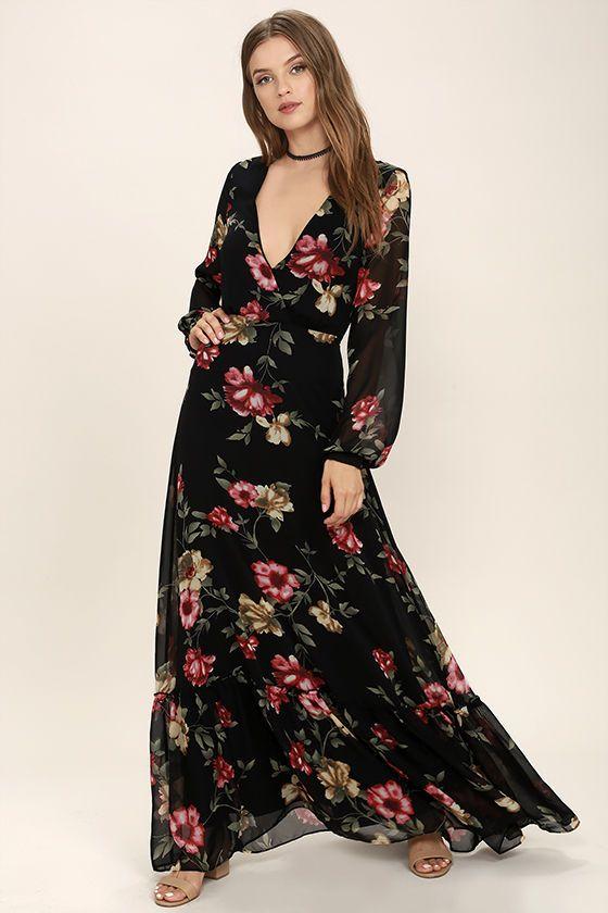 62722adbc0a45 Chateau de Versailles Black Floral Print Maxi Dress