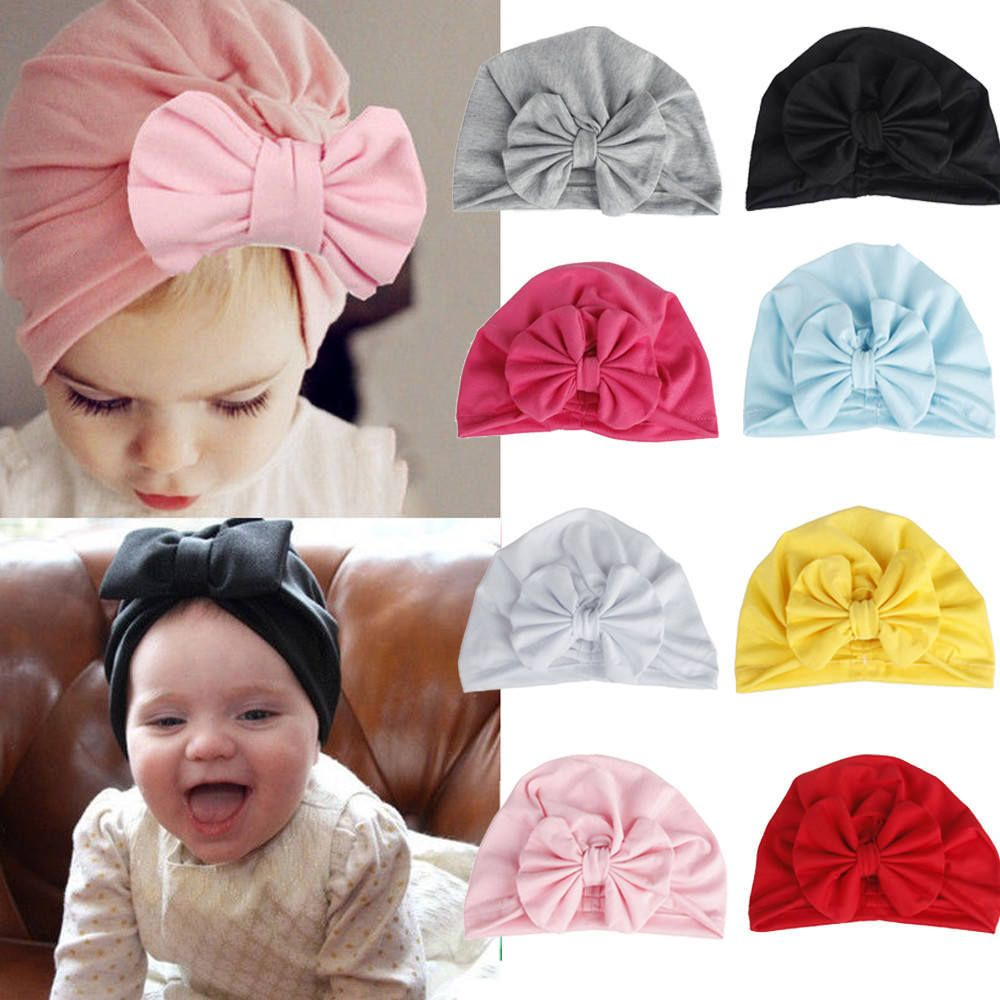 cb4bd773b PUDCOCO Girls Boys Baby Child Bowknot Solid Color Stretchy Turban ...