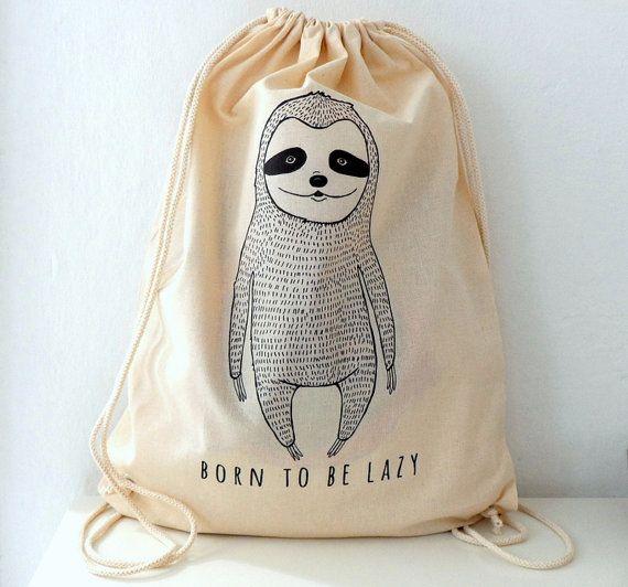 Sloth Printed Cotton Backpack drawstring backpack by ShebboDesign