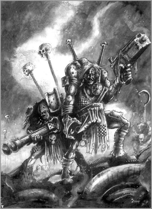 fightingfantasist:  omercifulheaves:  Art by John Blanche  Just got back home from a game of Necromunda as it happens. The Blanche Gang(*) will ride again! (*) Cawdor BTW.