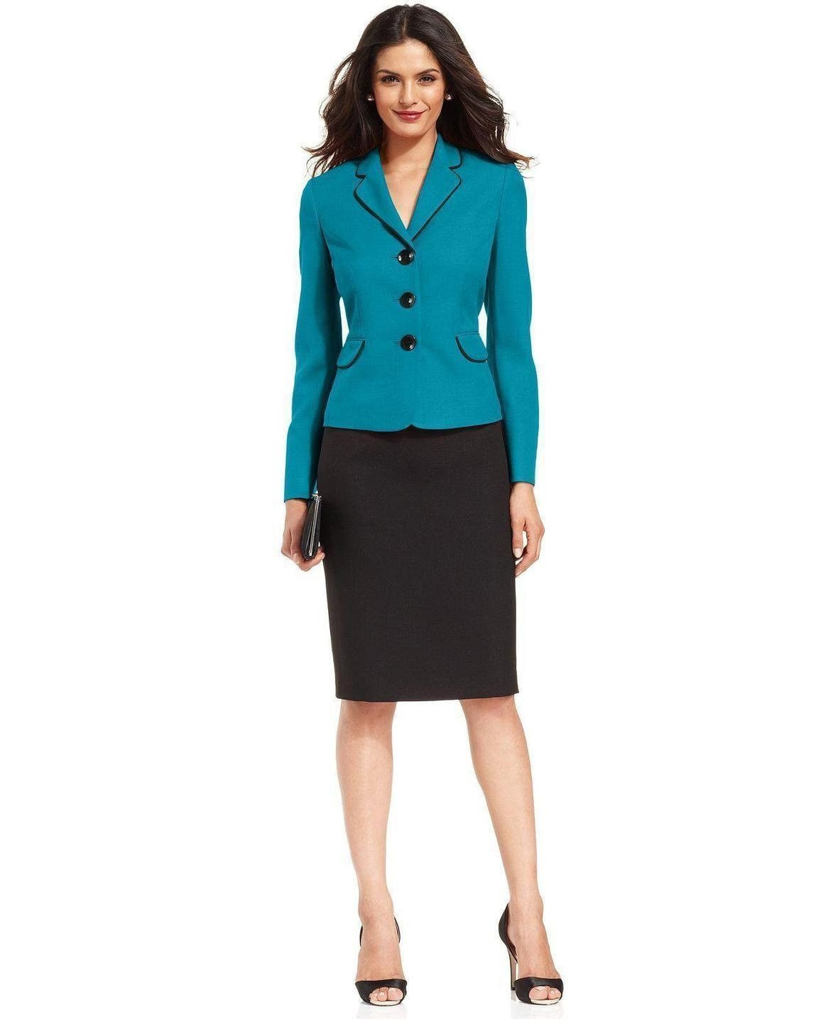 Evan Picone Contrast Jacket Skirt Suit In 2018 Conservative Skirt