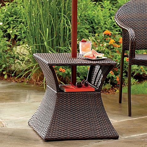 Stratford Wicker Umbrella Side Table