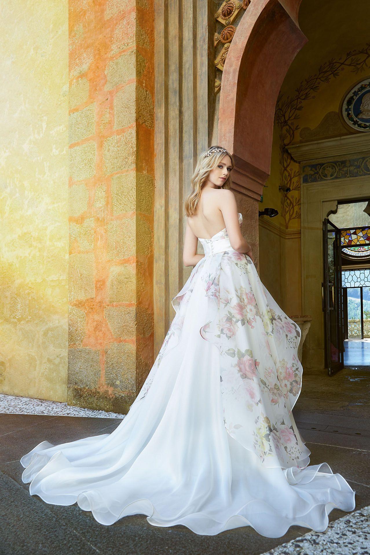 94b64cd94415 MODELLO SB 2118 Splendido abito da sposa in organza di seta pura stampata  con motivo a