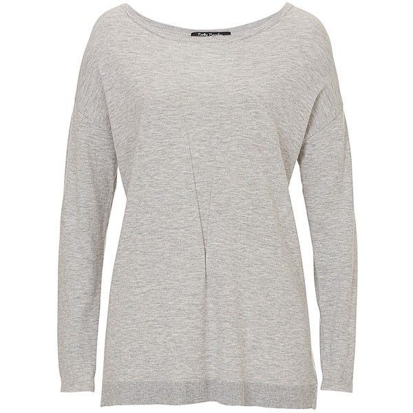 Betty Barclay Slash Neck Jumper, Light Grey Melange (450 NOK) ❤ liked on Polyvore featuring tops, sweaters, jumpers sweaters, boat neck sweater, long sleeve knit sweater, knit tops and boatneck top