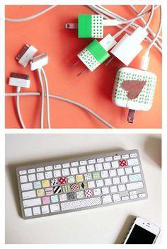 9. Personalizar. Atribua mais vida aos seus cabos, teclados e carregadores usando fita adesiva colorida.