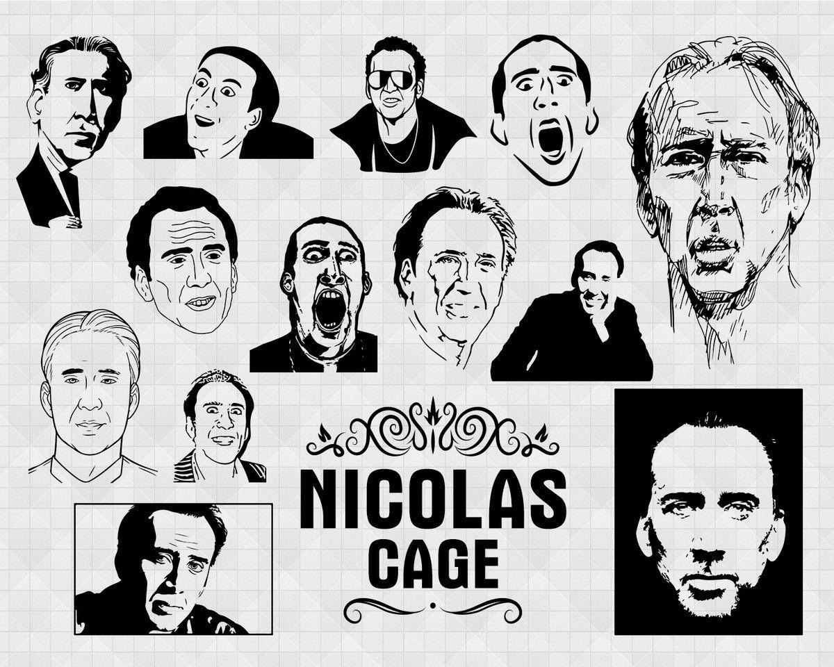 Nicolas Cage Svg Famous People Portrait Film Star Painting Celebrity Svg Print Art Portrait Art T Shirt Vector File Eps Dxf Svg Pdf Png Svg This Or That Questions Nicolas Cage