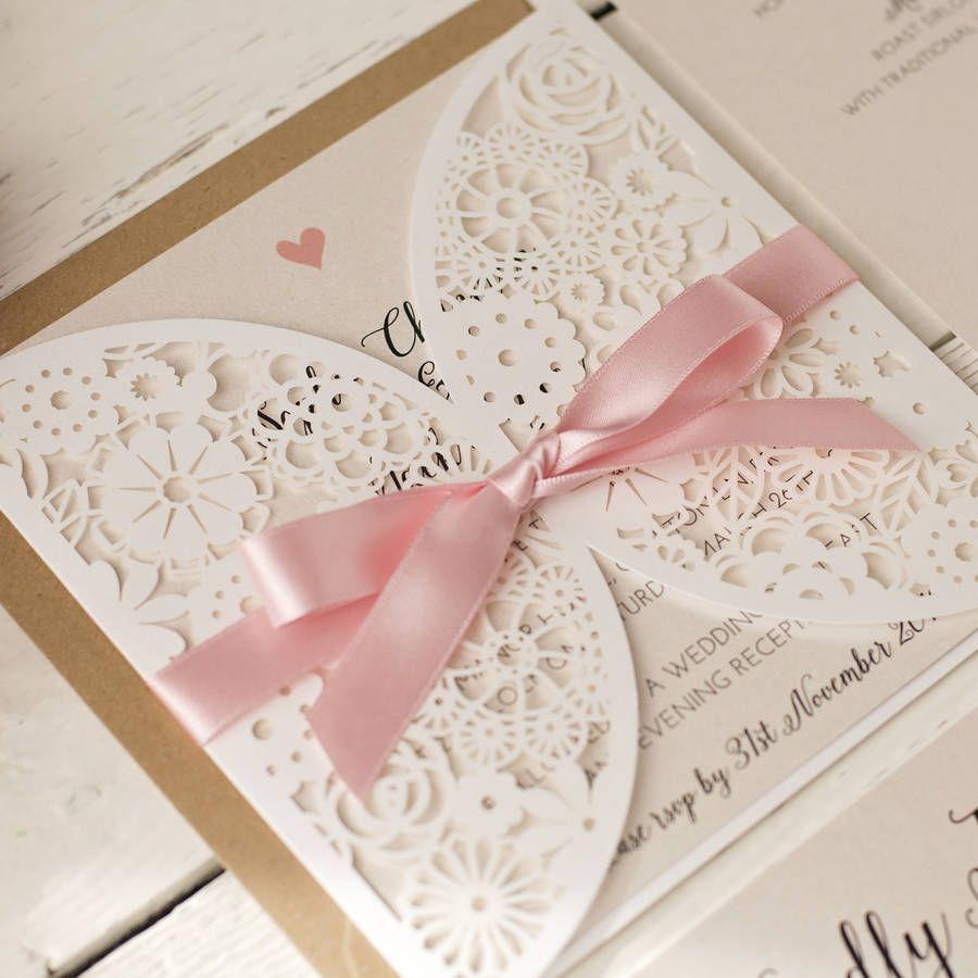 Pearl Laser Cut Wedding Invitation | Laser cut wedding invitations ...