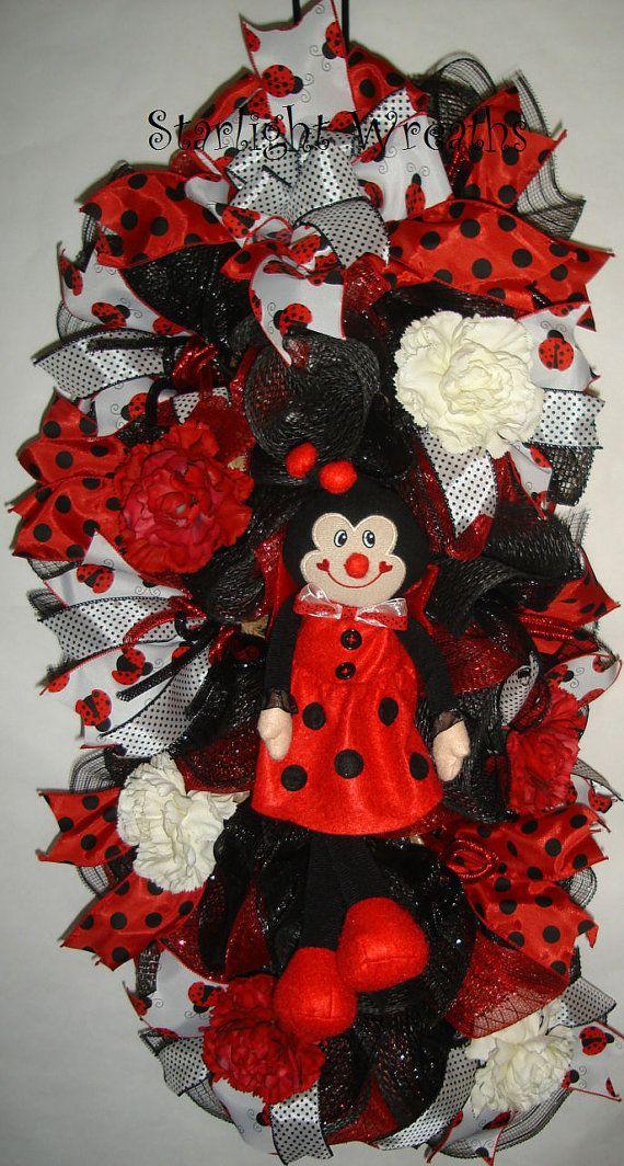 Lady Bug Burlap and Mesh Swag/Wreath Lady Bug by StarlightWreaths