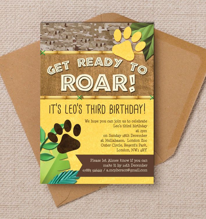 Lion / King of the Jungle Party Invitation | Kids birthday party ...