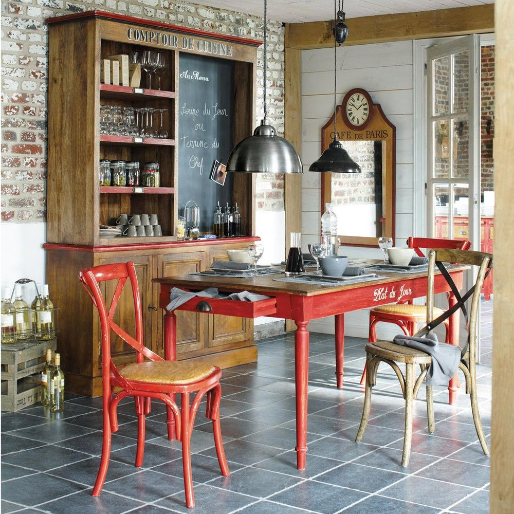 Chaise Bistrot En Rotin Et Chene Kitchen Wallpaper Rustic