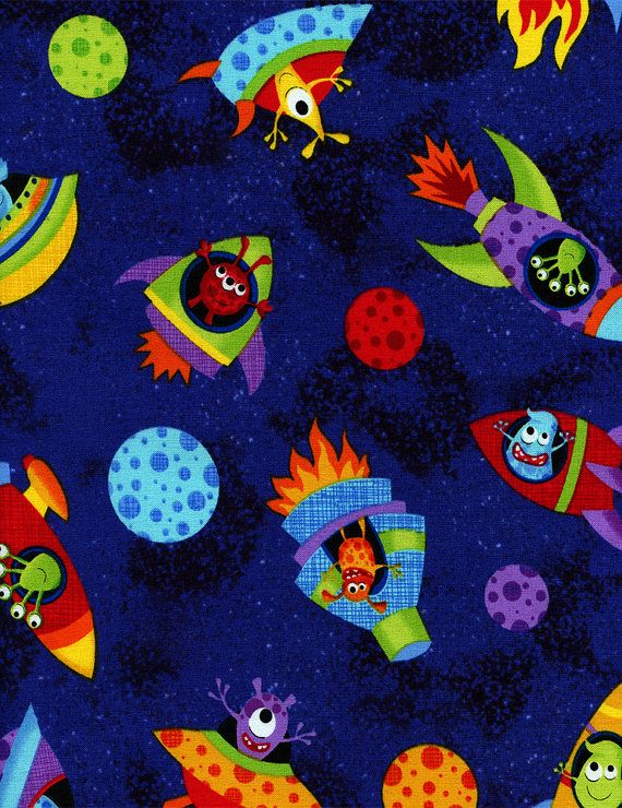 Alien space crafts cotton fabric royal blue with space for Space fabric by the yard