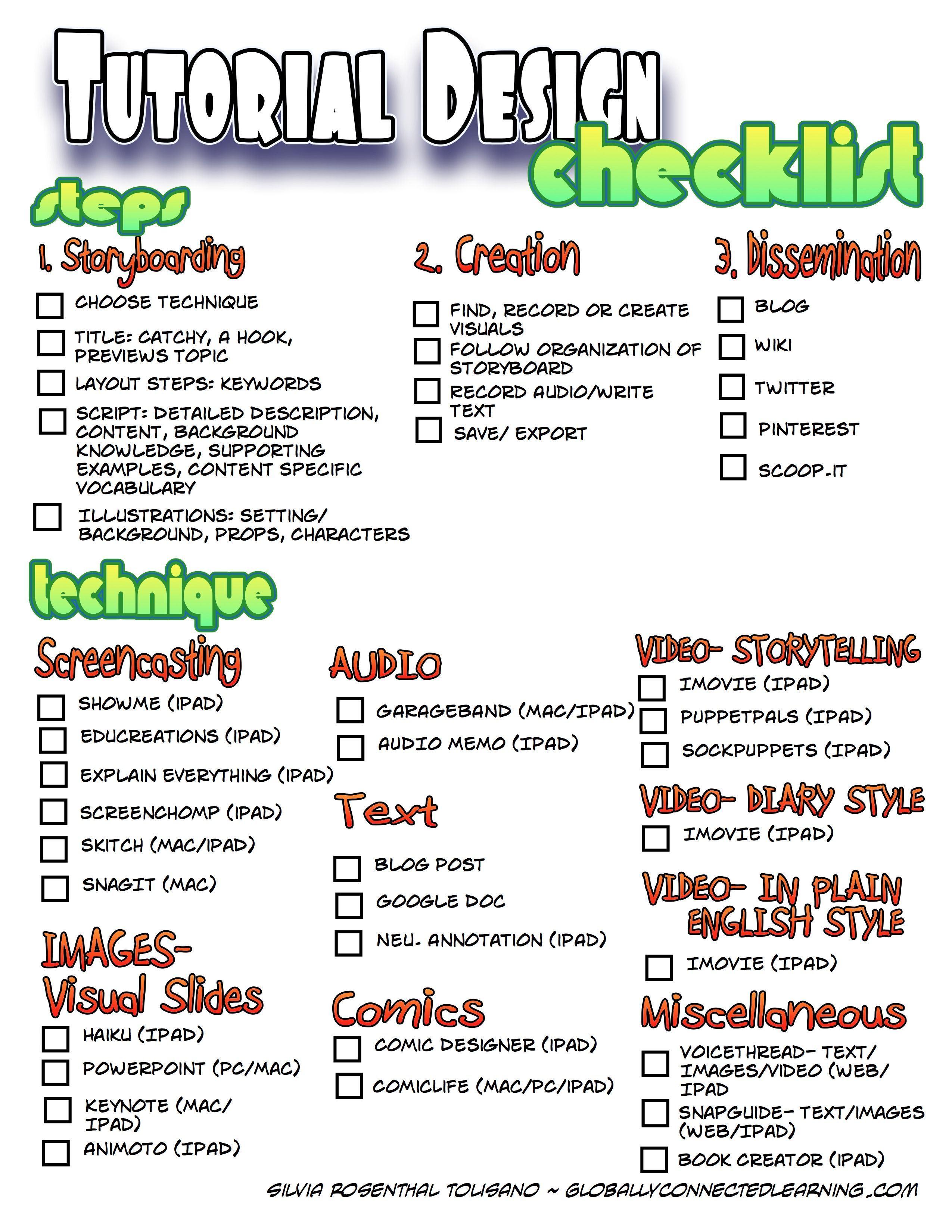 Tutorial Design Checklist This Informative Checklist