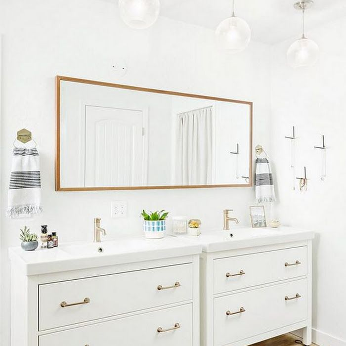 Modifying An Ikea Hemnes Vanity For A Modern Cool Guest Bathroom With Black And Leather Accents