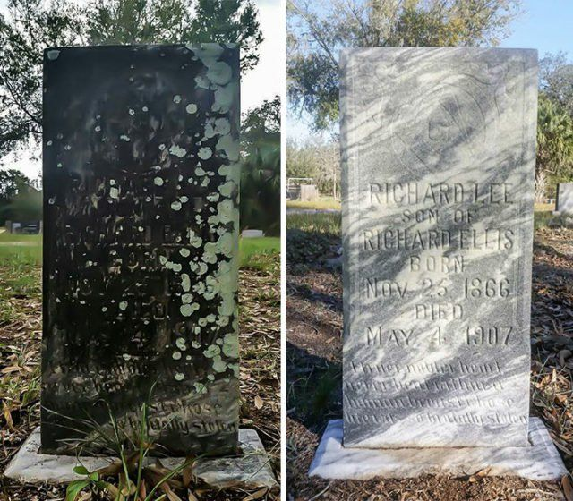 Lumish spends his one day off, every Sunday, cleaning the forgotten tombstones of military veterans in Florida. He sometimes spends up to four months cleaning some of these tombstones. #hero