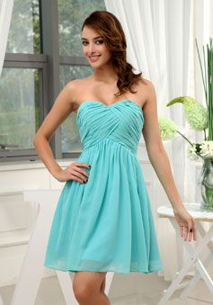 Criss Cross A-line Length Chiffon Mini  Zipper Bridesmaid Dress picture 2