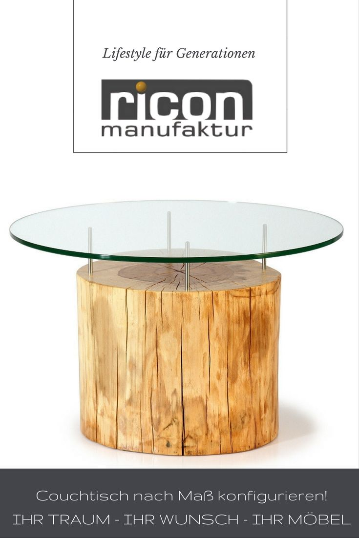 Love Wood Stylische Couchtische Aus Baumstamm Und Glasplatte Couchtische Couchtisch Tisch