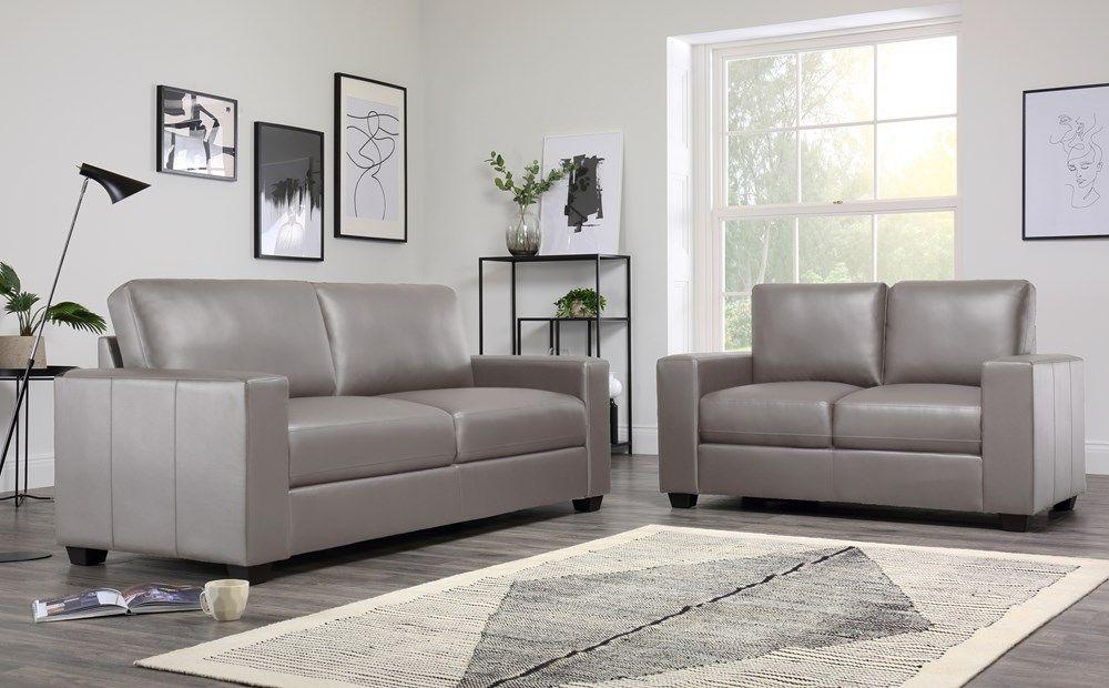 Taupe Leather 3 2 Seater Sofa Set