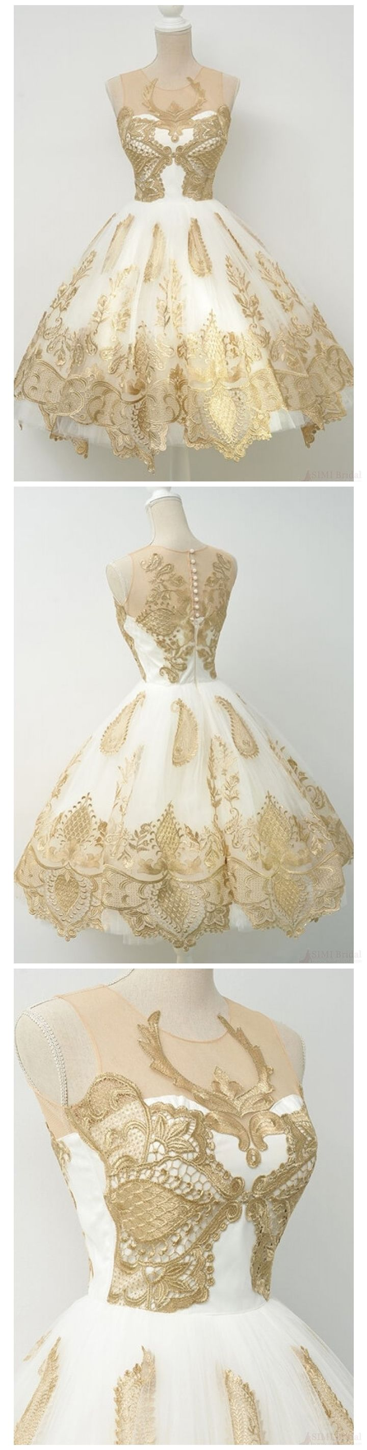 Gold lace homecoming dresses knee length vintage short prom dresses