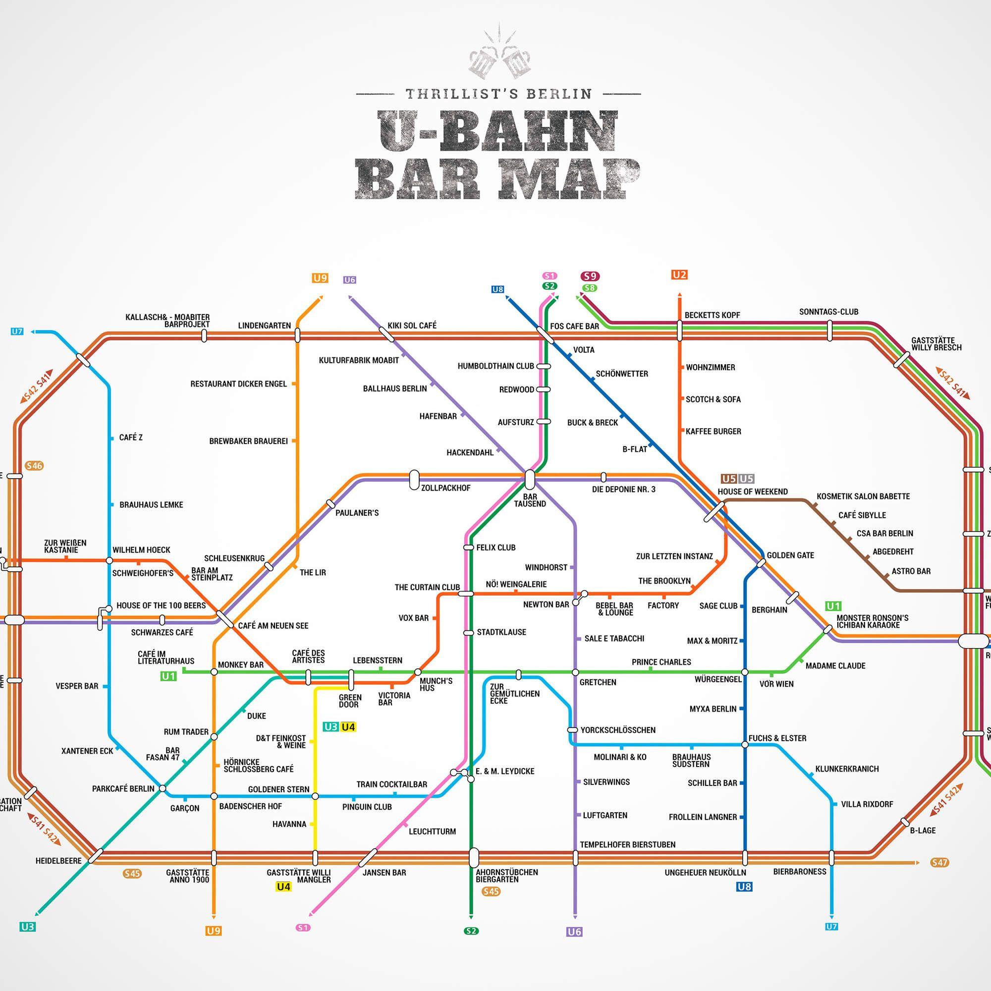 Berlin S First Ever U Bahn Bar Map U Bahn Berlin Munchen Stadtplan