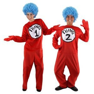 Seuss Cat in Hat Fancy Dress Halloween Adult Costume Thing 2 Shirt /& Wig Kit Dr