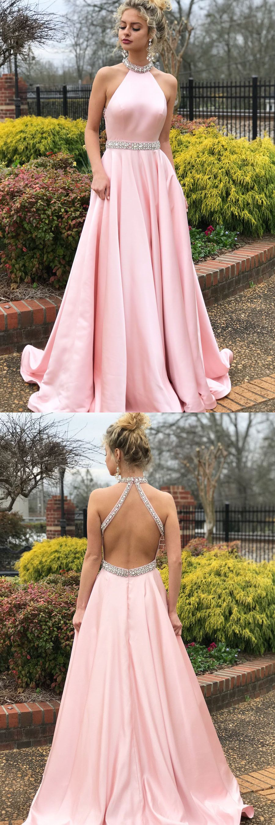 Charming High Neck Pink Beaded Long Prom Dress, Open Back Evening ...