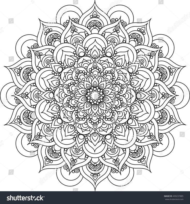 Schone Aufwandige Vektormandalaillustration Monochrome Vintage Mandala Ornamen Patterns A Mandala Ausmalen Mandalas Zum Ausmalen Muster Malvorlagen