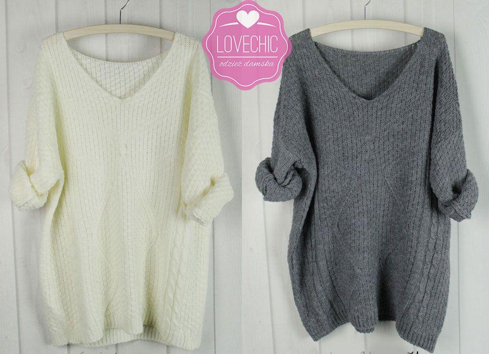 Luzny Sweter Oversize Alpaka Welna Odkryte Ramie 5717371460 Oficjalne Archiwum Allegro Sweater Dress Sweaters Fashion