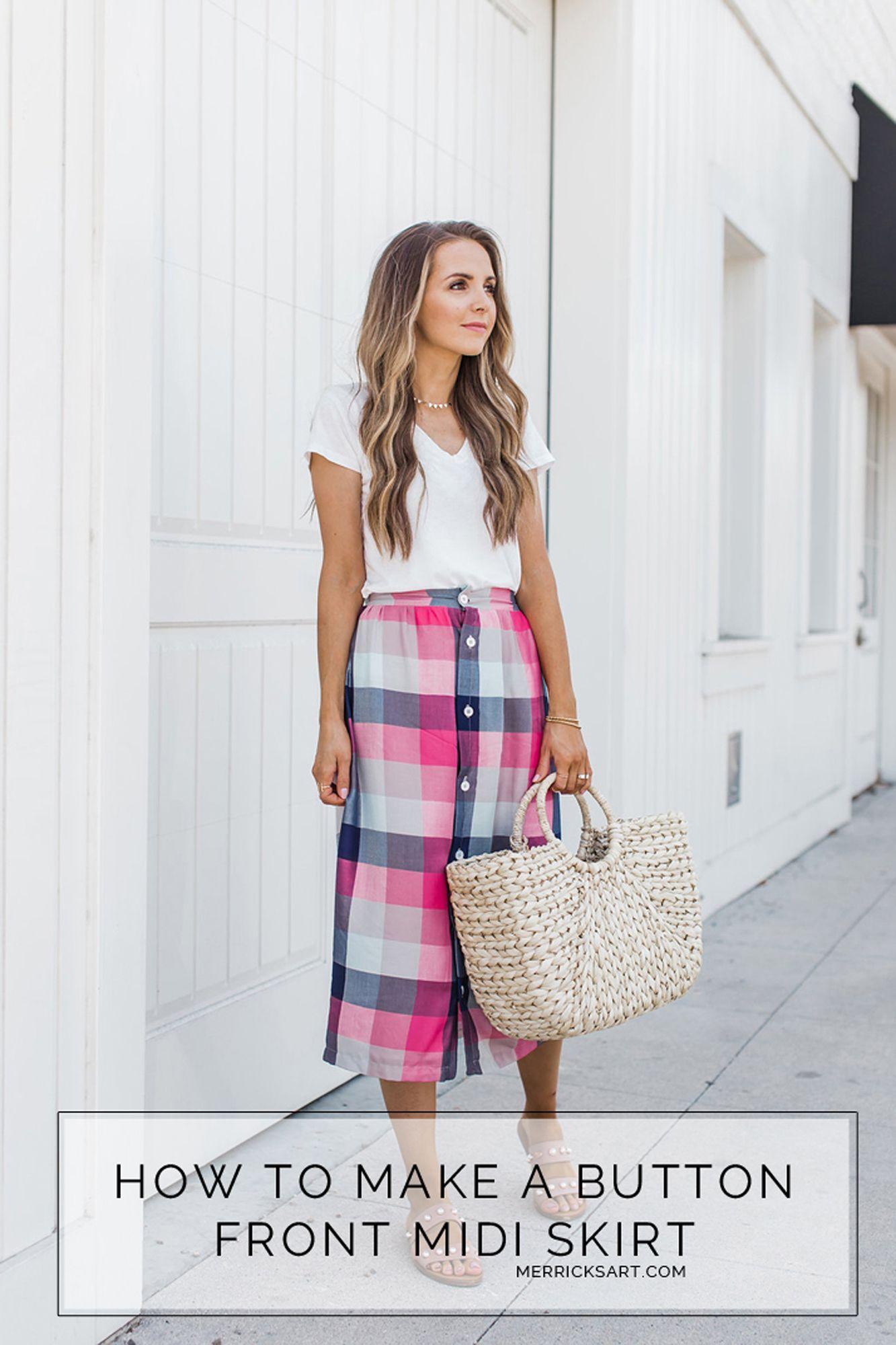 How to Make a Button Front Midi Skirt   Moda   Pinterest   Falda ...